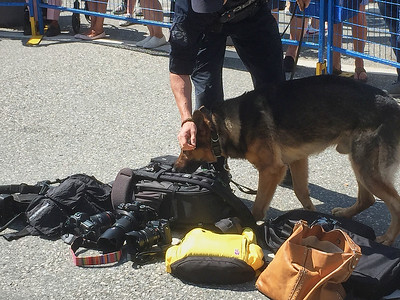 Police dog checking out on my backpack and Fujifilm gear.