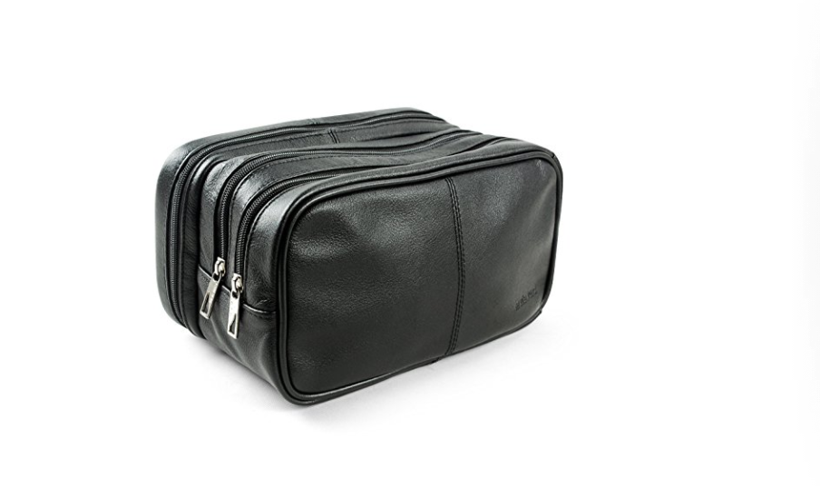 black men's leather toiletry kid