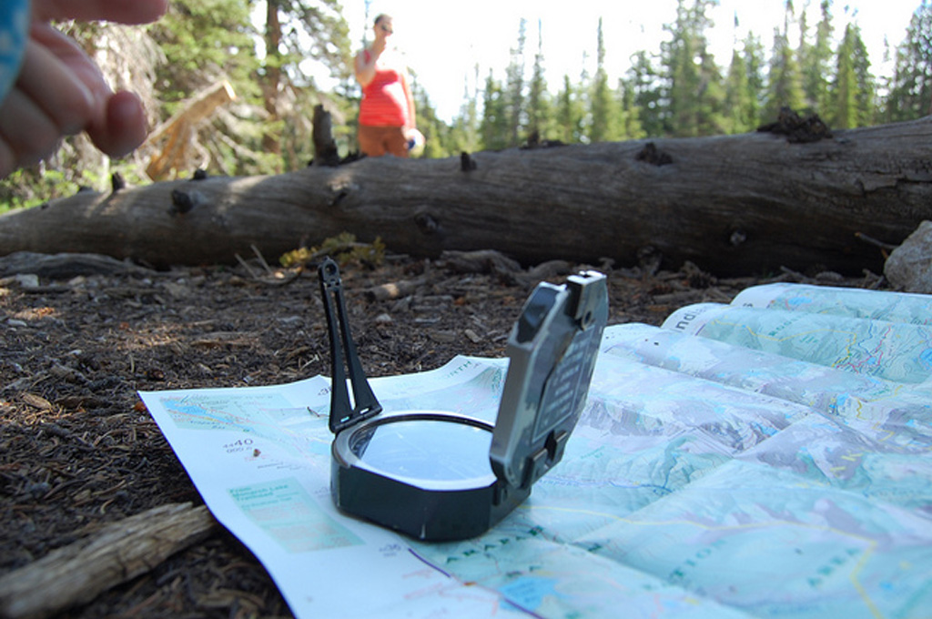 hiking with a compass