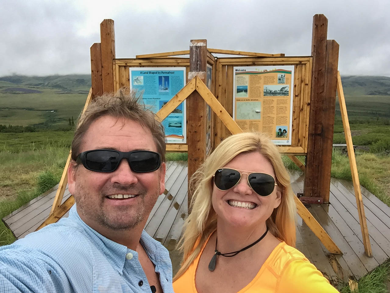 Crossing the Arctic circle on the Dempster Highway Yukon