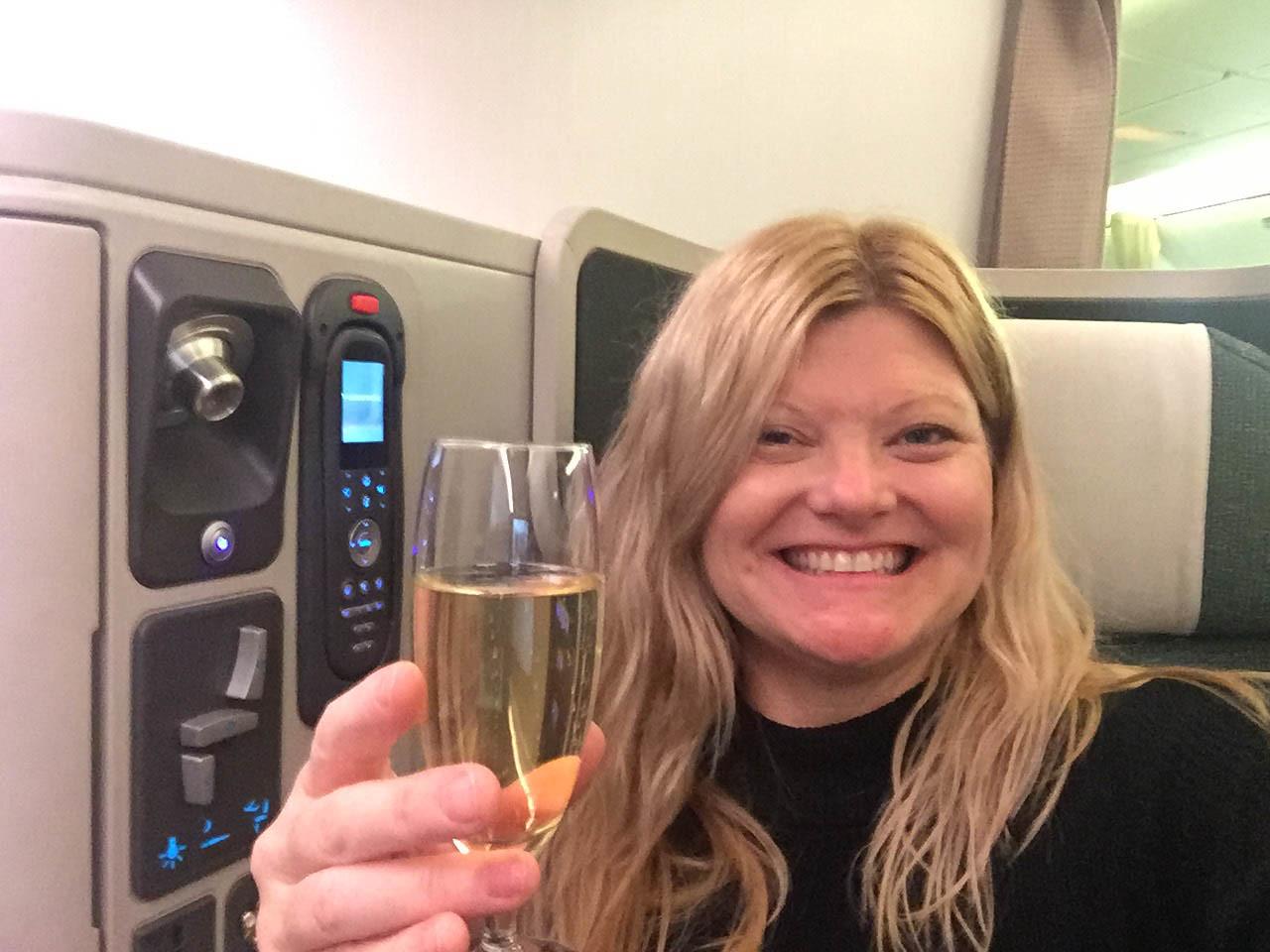 Cathay Pacific Premium Economy cabin champagne