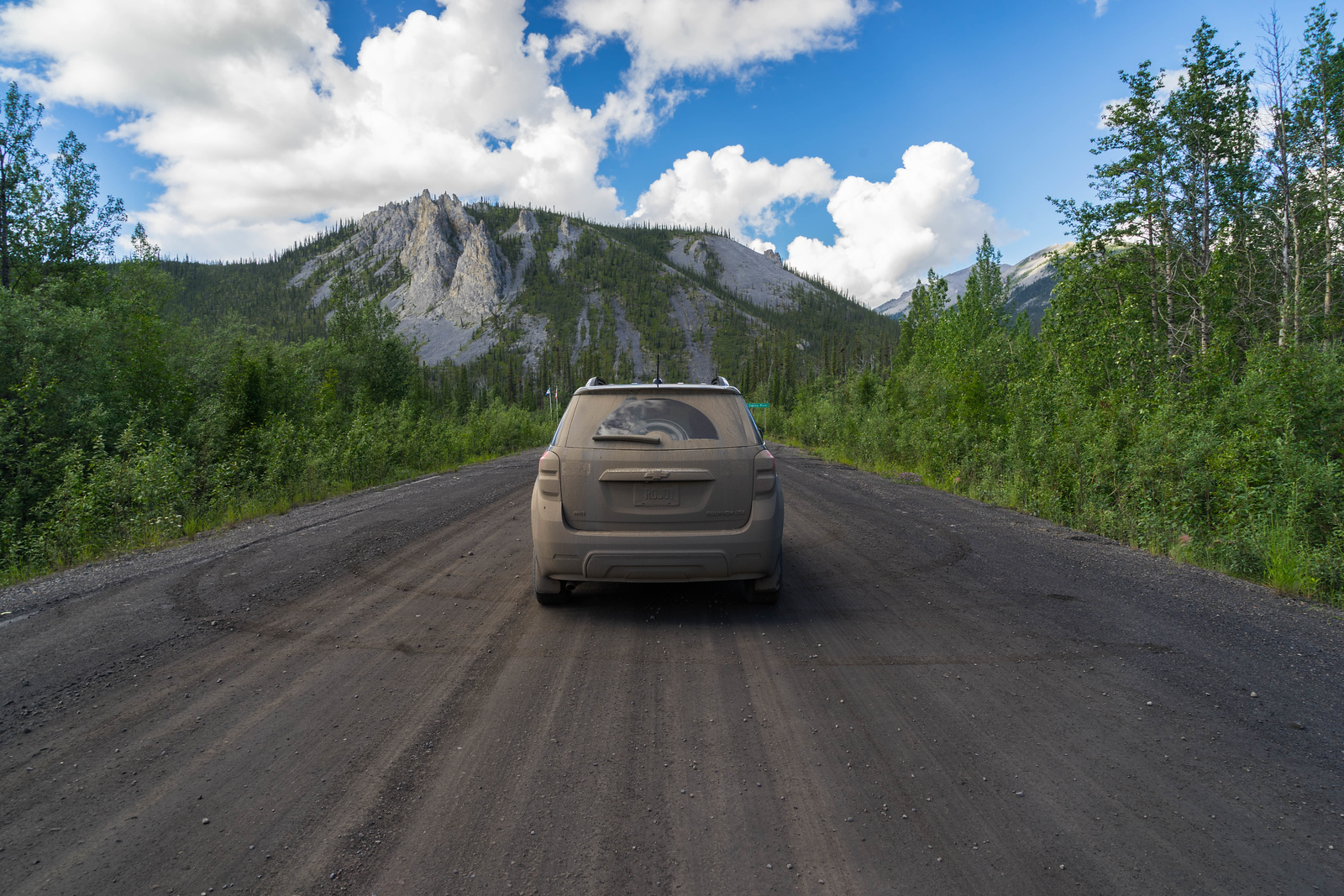 Our truck was looking a little muddy half way through the Dempster Highway drive.