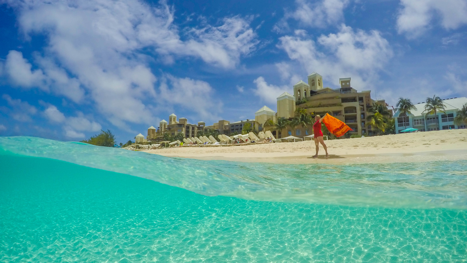 clear waters of tropical islands resort on Grand Cayman