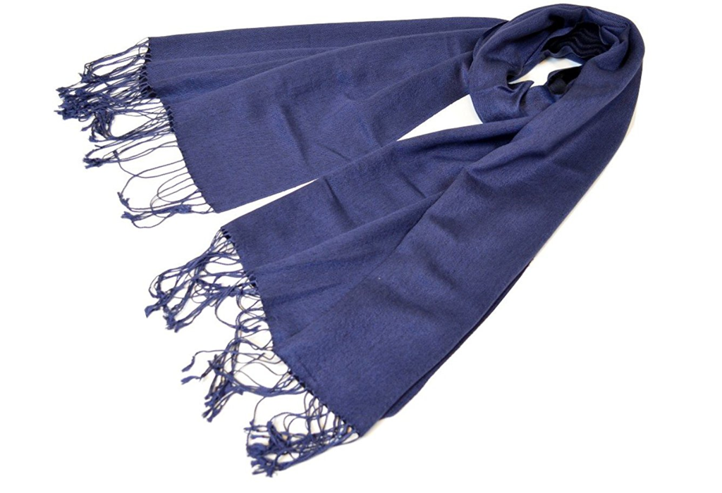 gifts for her silk pashmina scarf blue