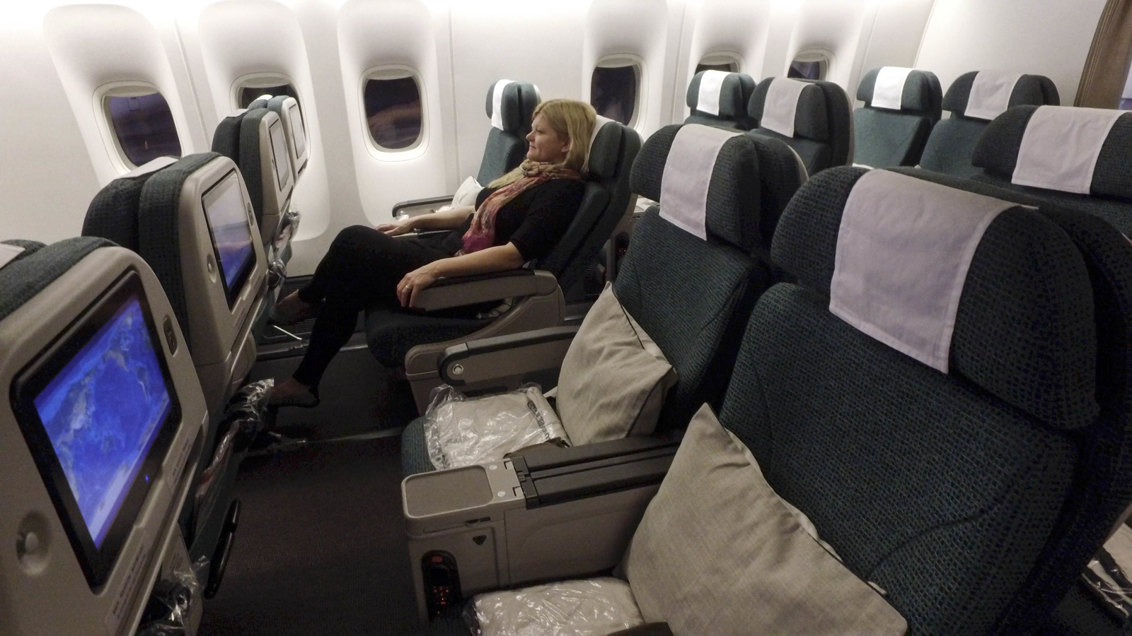 Cathay Pacific premium economy seats were quite comfortable and roomy