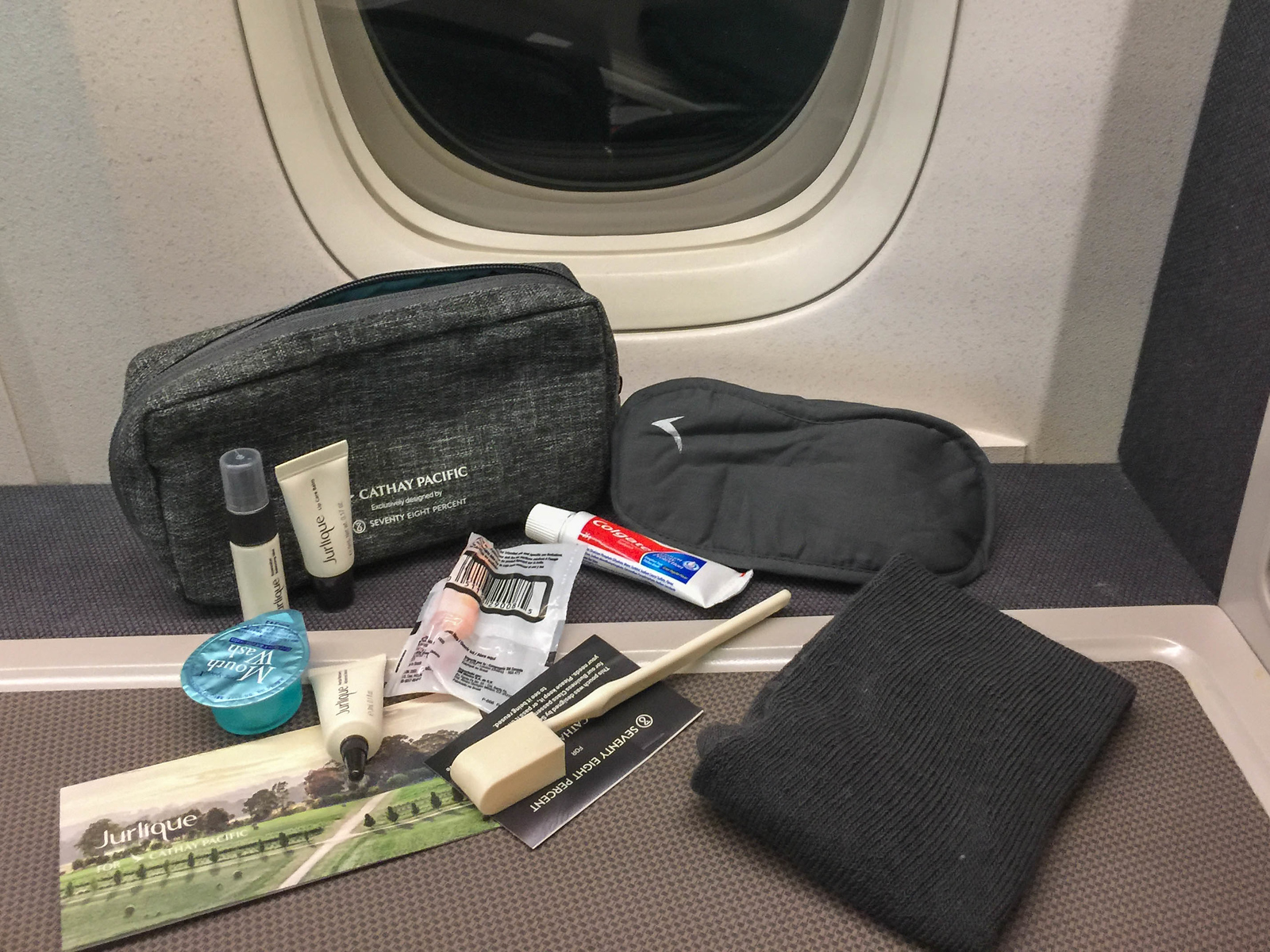 Amenity kit in Cathay Pacific Premium Economy class