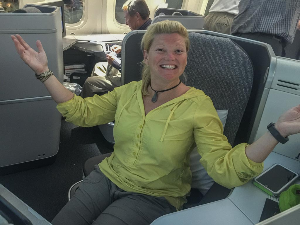 Deb on Air Canada Business Class