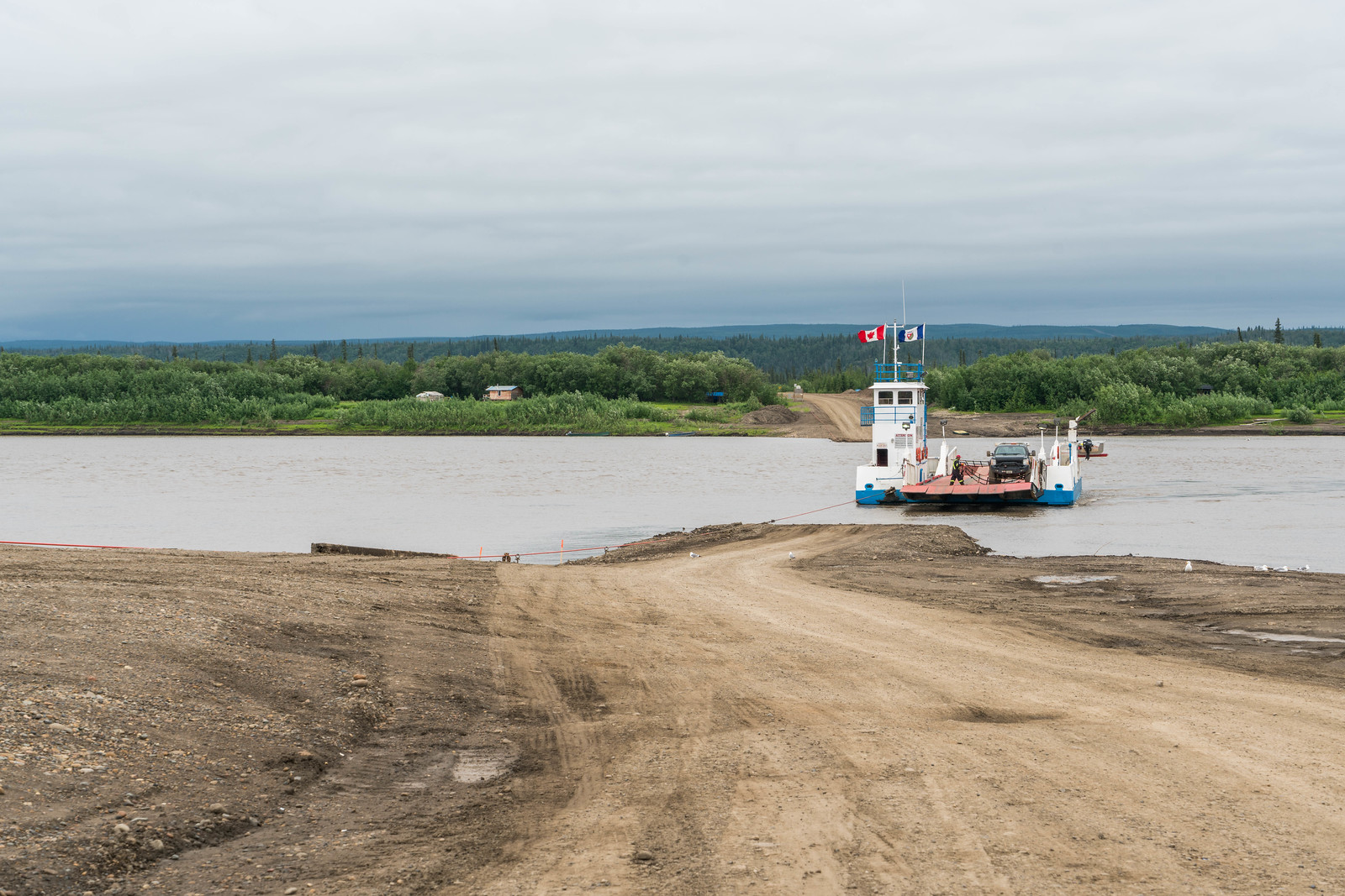 ferry crossing on the Dempster Highway.