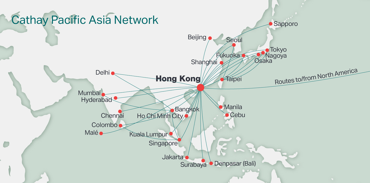 Hong Kong Cathay Pacific routes