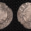 """Henry VIII half groat, 1526-44<br /> OBVERSE: HENRIC VIII D GR AGL Z FR (Henry VIII by the Grace of God King of England and France)<br /> REVERSE: CIVITAS CANTOR (City of Canterbury)<br /> Henry VIII (1509-47) silver Half Groat. S-2343. Second coinage (1526-44). Profile portrait type. Canterbury mint. WA beside shield, the insignia of Archbishop Warham of Canterbury.<br /> similar coin: <a href=""""http://www.wildwinds.com/coins/SE/SE2343.html"""">http://www.wildwinds.com/coins/SE/SE2343.html</a>"""