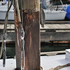 Rot becomes visible at the collar transition as the mast is lifted.