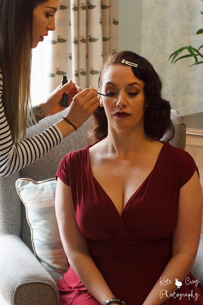 Lady having her make-up done, during a vintage photo shoot in Glasgow