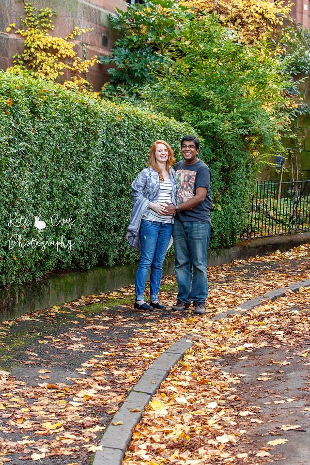 Pregnant couple, outside their home, Glasgow