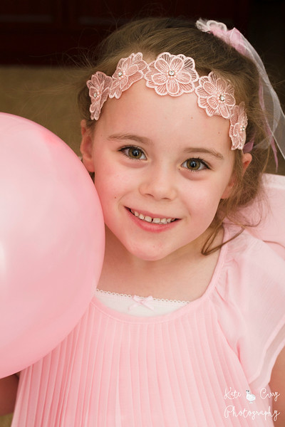 6 year old girl with pink balloon, Glasgow
