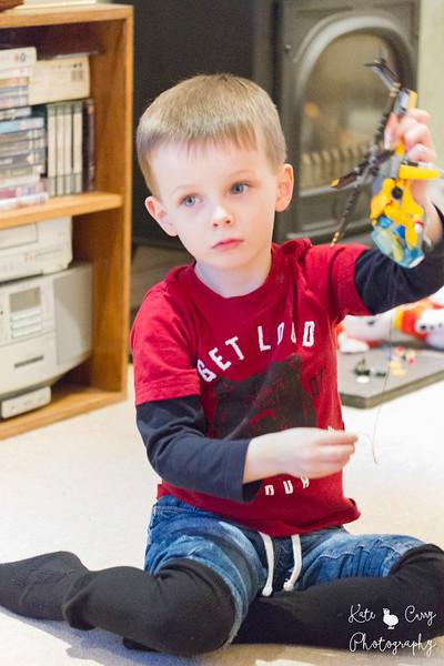 Preschool boy playiing with Lego