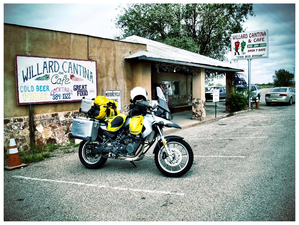 Bike And Bar - Willard, NM<br /> <br /> I'm a strong believer in the idea of shoot with the camera you have.  Essentially instead of always bemoaning the idea you can't make good photographic shots because your real camera is back at home or not there, I believe you should shoot with anything you have.  This includes your phone.  <br /> <br /> There are so many benefits for embracing this.  Not the least is you'll have shots in your albums when otherwise you'd be at home wishing you had shots.  You'll at least have something to work with vs nothing at all.<br /> <br /> Another neat idea when shooting this way is you can develop a really unique style with the advent of modern technology.  When previousy all images pretty much looked the same as perfectly exposed and clear as a bell, things have changed.  Nowadays, you can have your images look almost as good or as poor--poor for artistic purposes--as you may like.<br /> <br /> This last is all digital manipulation.  If you're like me you can get this done after the fact through post processing.  This works by taking you perfect image using your camera of choice--for me my grab camera is a Canon G12--then capturing the image.  After you import your image you can manipulate it as you need to get your final version.<br /> <br /> There's a lot of power and decisions to make when the whole world of digital manipulation is at your finger tips.  And, that's not always a good thing.<br /> <br /> The other technique is use an app on your phone that will apply the corrections almost as you push the trigger.  This means you make all your adjustments prior to shooting.  But, as soon as you shoot, those manipulations are fixed.  There aren't any other changes you can make, done, finite, complete, no more changes.<br /> <br /> Why would anyone sign up to such inflexibility?  Well, there's a good reason and it's called visualization.<br /> <br /> The idea here is to make images when you shoot that will be as final as possible.  You develop a good set of visualization skills, you world is your oyster.  If you can shoot to a final product when you press the trigger there are many added benefits.  Not the least of these is you start to see how easy it is to make compelling images with a good minds eye to guide you.