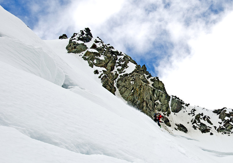 Tess riding the lower couloir