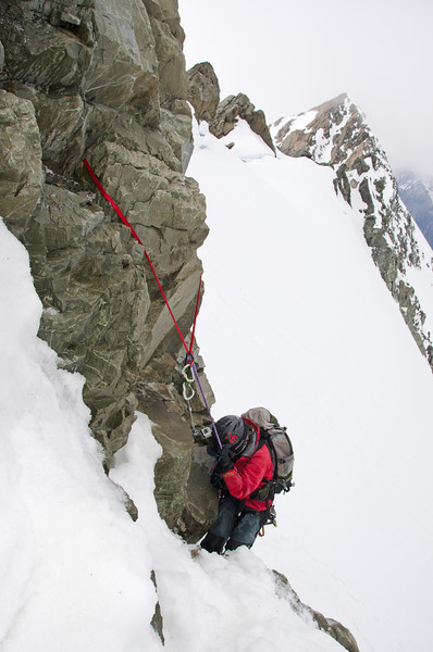 Abseiling the rock step