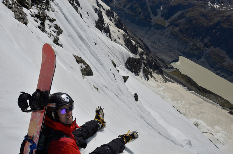 Nick surveys the line down the east face, Hooker Lake below