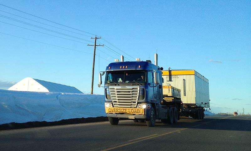 Wide-load truck in Canada. (Photo: Kim Olson)