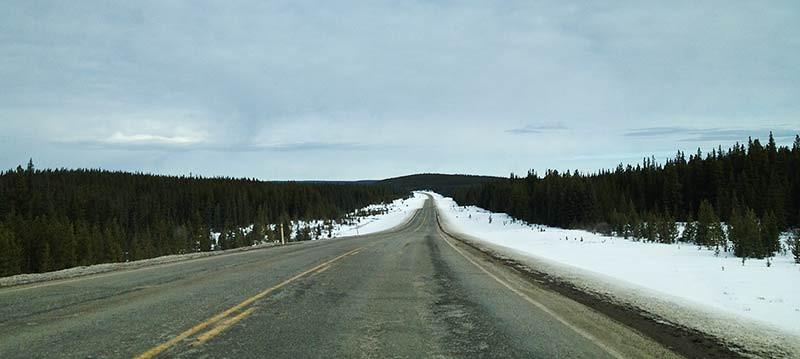 Long, flat, wooded roads along the Bighorn Highway Alberta, Canada. (Photo: Kim Olson)