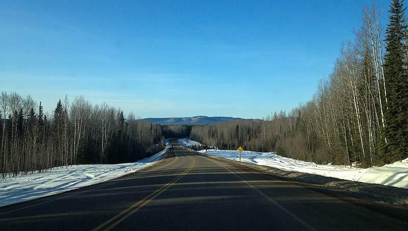 Driving the Alaska Highway in northern British Columbia. (Photo: Kim Olson)