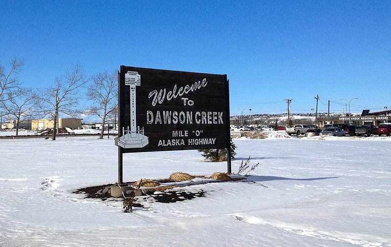 Mile 0 of the Alaska Highway (ALCAN) in Dawson Creek in British Columbia, Canada. (Photo: Kim Olson)