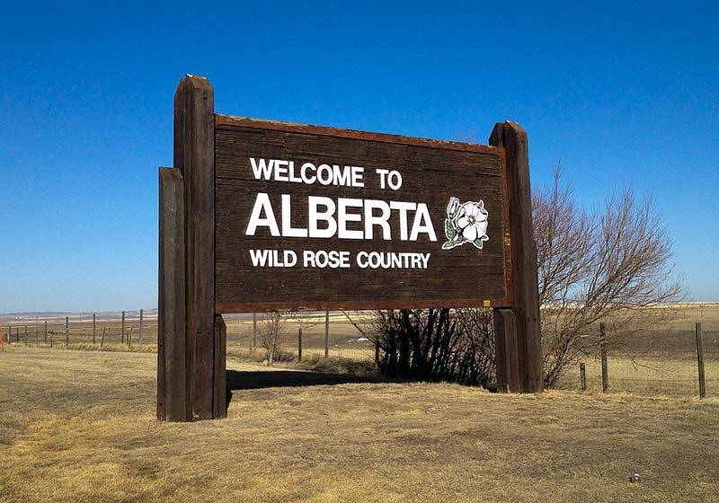 Welcome to Alberta sign in Canada, (Photo: Kim Olson)