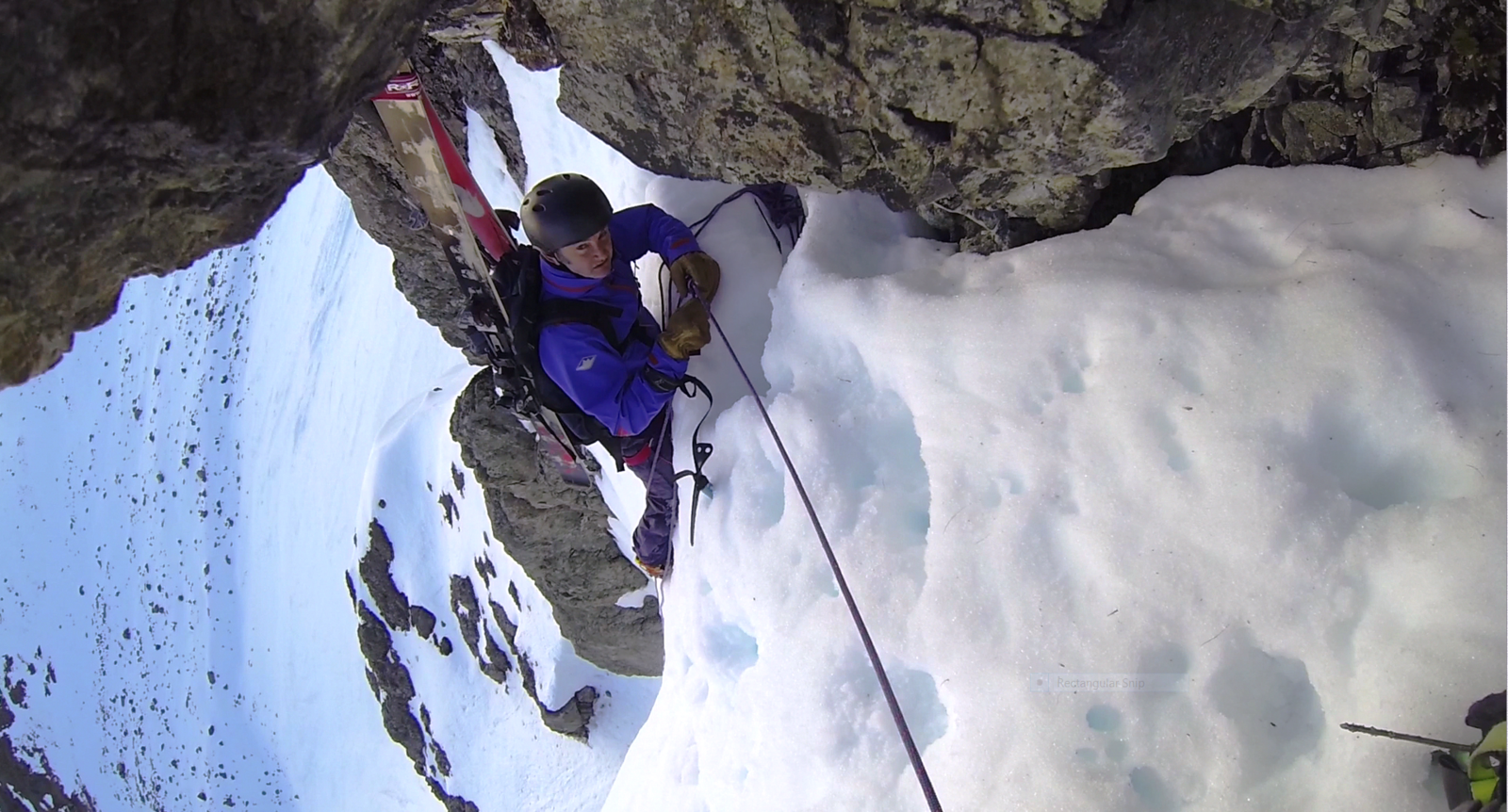 Moving out from the belay into the Hanging Couloir on Otira Valley headwall