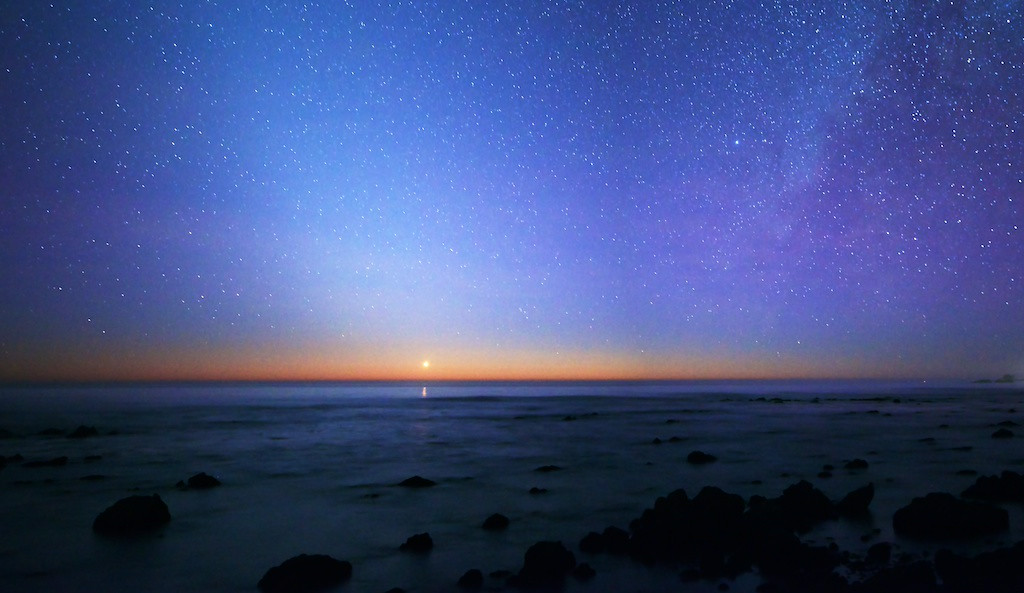 """IMAGE REVISITED - 14 JULY 2014<br /> <br /> Venus Sunset - Piedras Blancas, California<br /> <br /> Link to Original:  <a href=""""http://www.tom-hill.biz/Galleries/Scenics/California/i-ZDT5BFd/A"""">http://www.tom-hill.biz/Galleries/Scenics/California/i-ZDT5BFd/A</a><br /> __________<br /> <br /> I'm not sure what got ingot me this last weekend.  Maybe it was finally getting to working on things creatively that got me going.  For some reason I spent most of Sunday working on images I'd done before.  Most of them were failures in that I couldn't make them the way I thought they should--i.e. represent what I """"saw"""" when I pushed the trigger.  Well, I somehow overcame whatever was preventing me from realizing my vision.<br /> <br /> This particular image was processed previously.   One thing I overcame were the colors.  The previous version I had which I really didn't like was too bland as in it didn't reflect the cool colors I saw when Venus was descending towards the horizon.  <br /> <br /> Cheers<br /> <br /> Tom"""