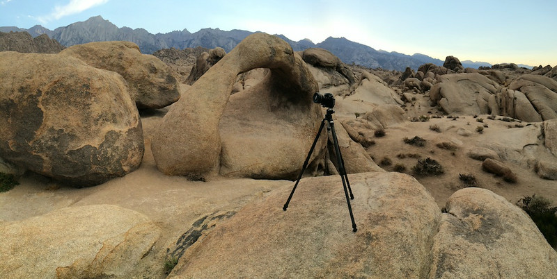 "SHOOTING THE ALABAMA HILLS - 2 August 2014<br /> <br /> Mobious Arch at Sunset - Alabama Hills, California<br /> <br /> Just now I'm working the Eastern Sierra Mtn's on a very short weekend photography trip.  I'm working out of the little town of Lone Pine which calls itself the Gateway to Mt Whitney.  Just over the hill from Lone Pine are the Alabama Hills.  In these amazing rock formations is the Mobious Arch which I've photographed many times before.<br /> <br /> The last time I was out here was over eight years ago.  I have no idea why I haven't even visited the area since moving back to the Antelope Vally just under a year ago.  In fact, one of my most favorite Eastern Sierra images was shot the last time I was here. <br /> <br /> Link to other image:  <a href=""http://www.tom-hill.biz/Galleries/Scenics/California/i-HFSgPBR/A"">http://www.tom-hill.biz/Galleries/Scenics/California/i-HFSgPBR/A</a>  <br /> <br /> Coming here this time is a bit of a reunion for me.  I'm getting reacquainted with the area.  And, I'm learning by shooting in a different way.<br /> <br /> I had good results last night.  I did mostly night photography with my new lens.  I'll post those results in the next few days.  Still, I have much to do to get back to the proficiency level I had when I shot landscapes almost every weekend.  I hope to.  That's the aim.  I'm planning to get out at least once a month to do some sort of shooting.  This is the first of those trips.<br /> <br /> Stay posted for more.<br /> <br /> Oh, the picture was shot with my phone a while prior to sunset.<br /> <br /> Cheers<br /> <br /> Tom"