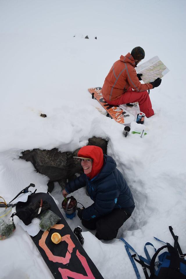 Camping antics in the Rolleston River headwaters beneath Waimakariri Col