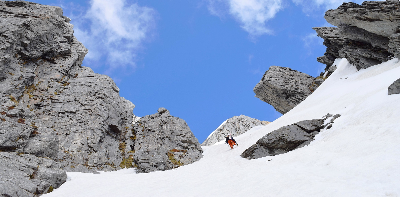'Bivvy Rock couloir' on the lower slopes of Taiaha Peak