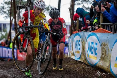 Amanda Miller USA following Aida Gonzalez Blanco ESP during the elite women's race at the 2016 Cyclo-cross World Championships on January 30, in Zolder, Belgium. Photo: Matthew Lasala/Lasala Images
