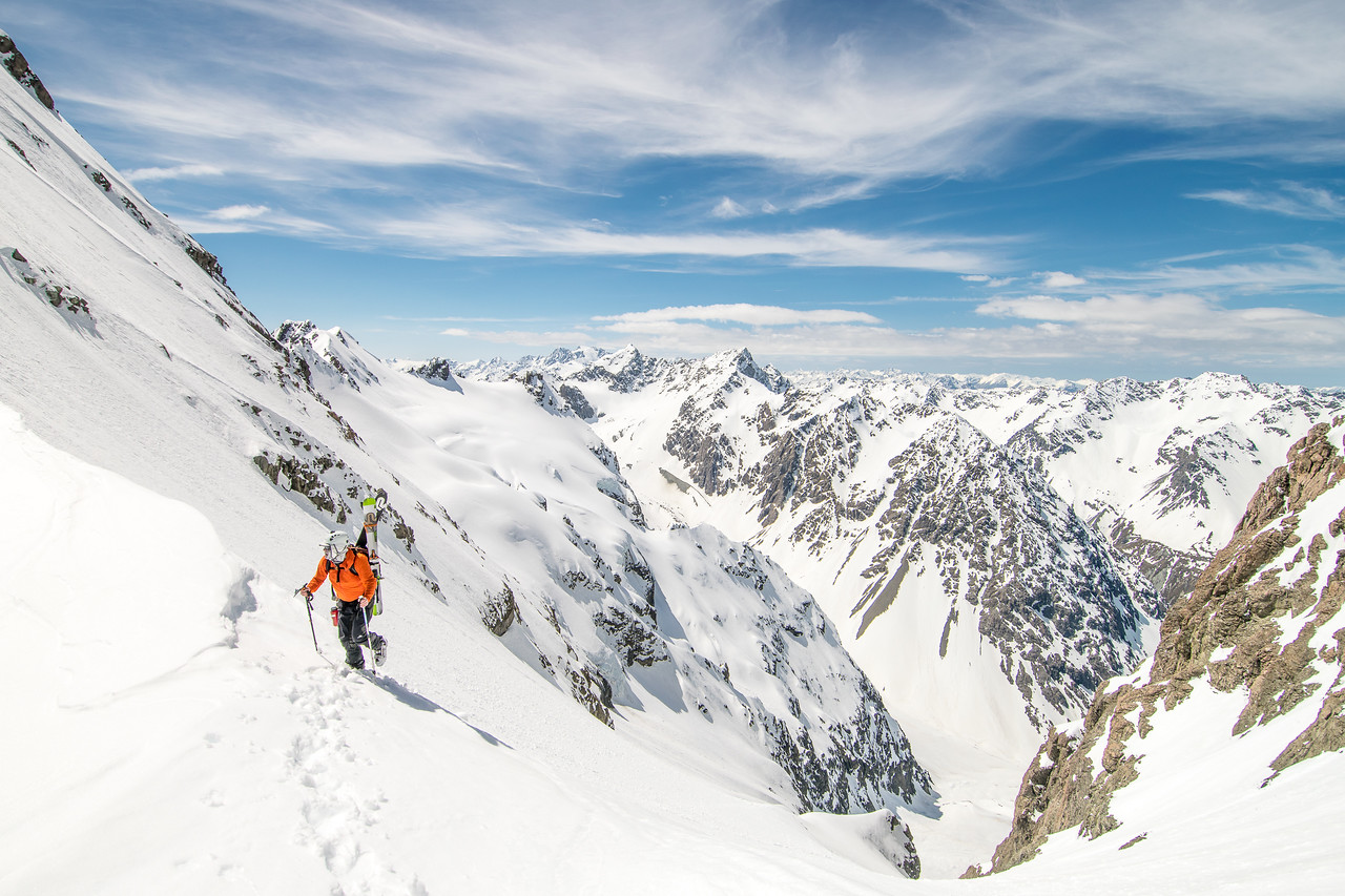Cam topping out from the Bad Habitats couloir on the Nun's Veil