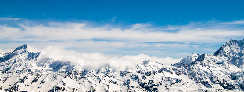 Looking across at the Main Divide, Mt Sefton left and Aoraki Mt Cook on the right