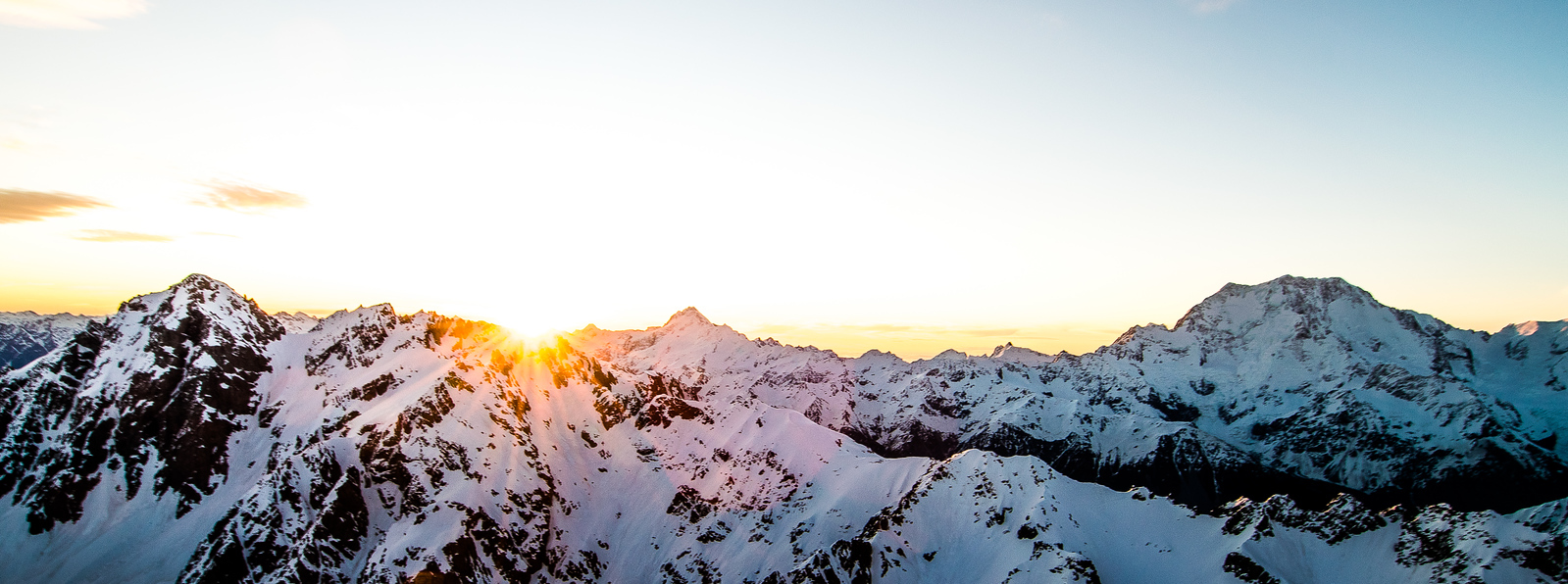 Sunset from the Abbess looking across the Monk Glacier with the Main Divide beyond
