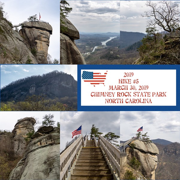2019 Hike #5 on March 30 at Chimney Rock State Park in North Carolina