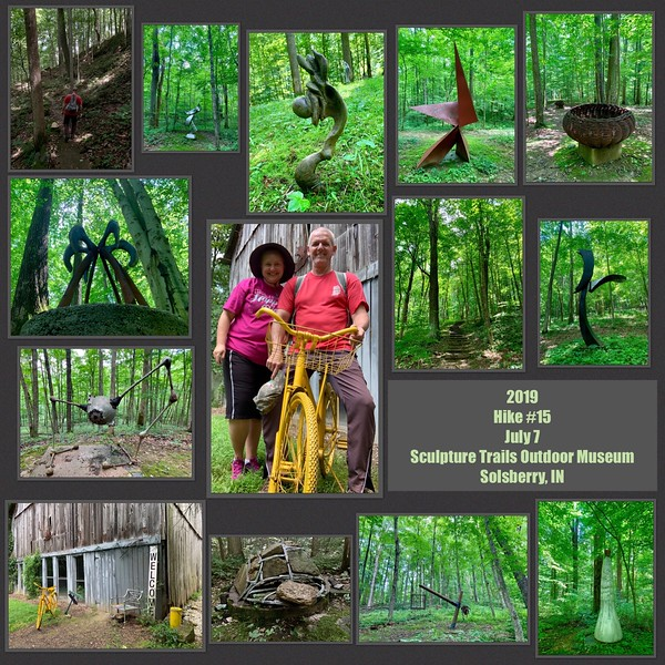 2019 Hike #15 on July 7 at Sculptures Trails Outdoor Museum in Indiana