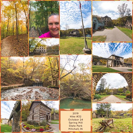 2019 Hike #32 on October 24 at Spring Mill State Park in Indiana