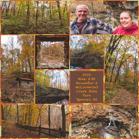 2019 Hike #35 on November 6 at McCormick's Creek State Park in Indiana