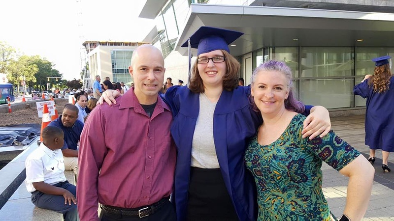 Makalas HS graduation, With Will and Wendi (Purple Hair.jpg