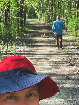 Partial selfie as Dexter and Tracy walk the trail!