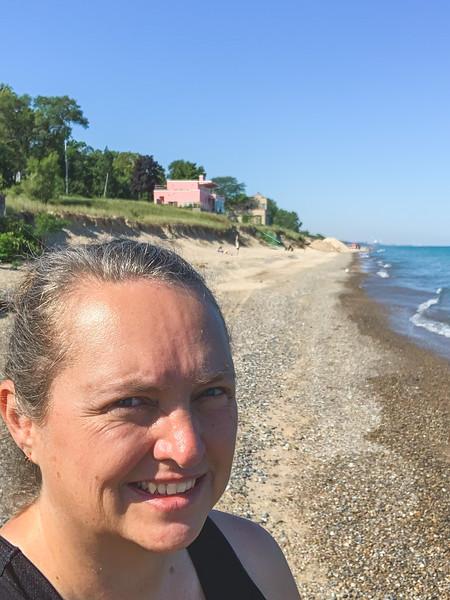 "Selfie on the beach near the ""pink house"""