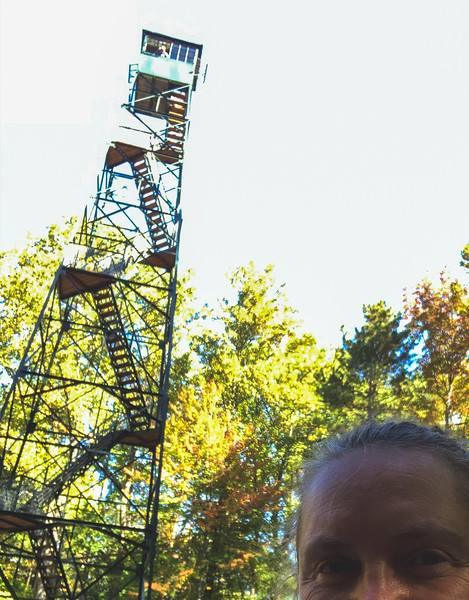 Selfie at the Firetower (Tracy is at the top taking pics)