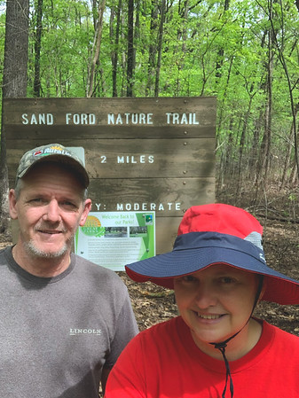 Selfie at the Sand Ford Nature Trail Sign