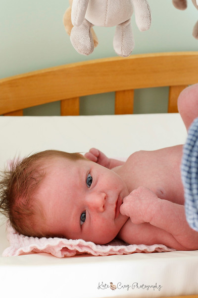 Newborn baby on changing mat, North Berwick
