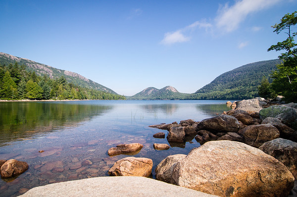 "Jordan Pond, with ""The Bubbles"" in the background"