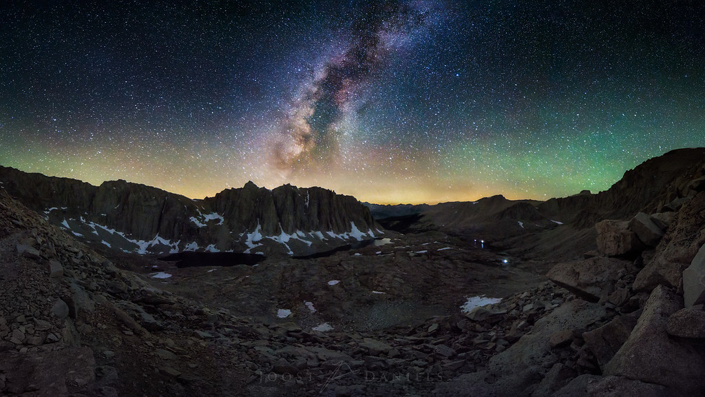 Hitchcock Basin, the beginning of the end: a shot from our nightly ascent of Mount Whitney, the highest point of our hike, and the contiguous US for that matter. The colors on the horizon are from air glow, fire and even city lights 100 miles away. The summit of Whitney is just out of the frame on the right, and you can see the lights of some of the other hikers starting to get ready for their ascent at the lower elevations.