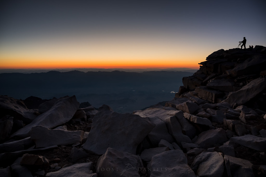 No biggie: Marcel taking photographs of the sunrise from the summit of Mount Whitney